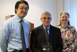 Dr. Hiro Tamaki (left) awarded Gary S. Hoffman (center) VF Vasculitis Fellowship, 2015